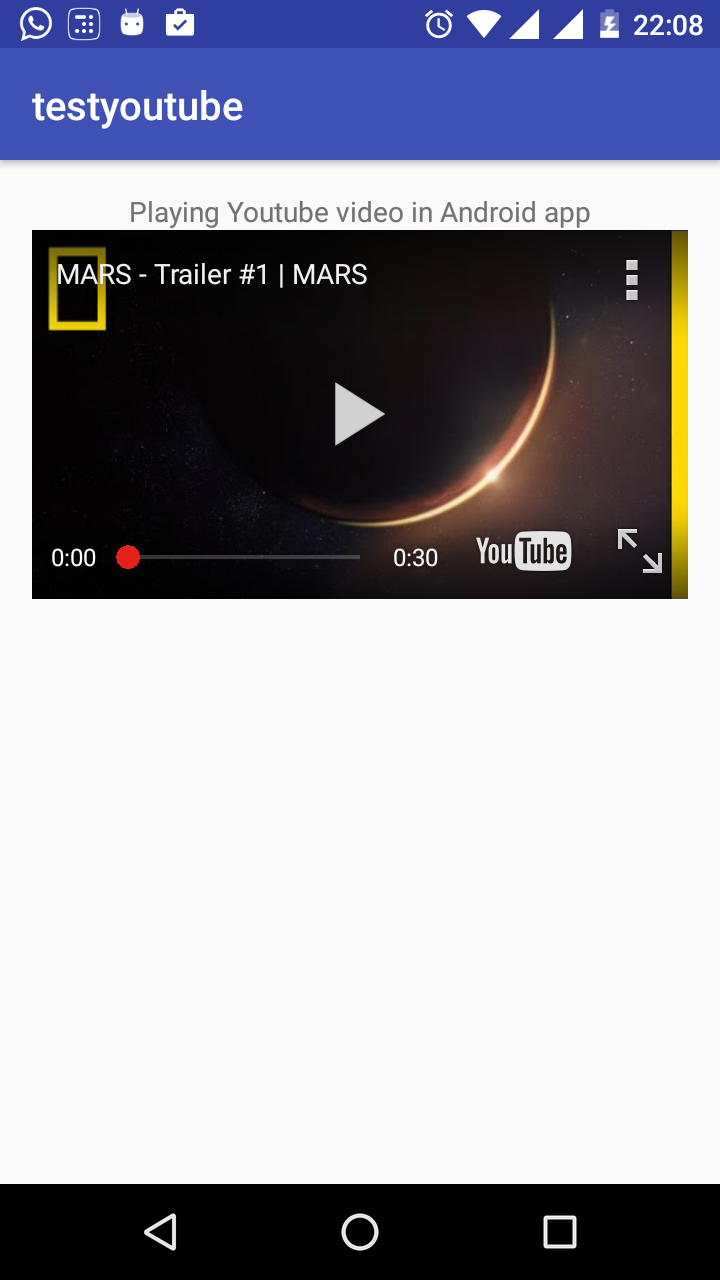Play YouTube Video In Android Example
